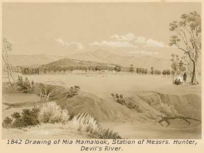 1842 drawing showing Hunters station
