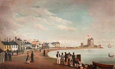 1835 painting showing Beach crescent and Broughty Castle