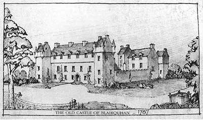 print of the old castle at Blairquhan  in 1787