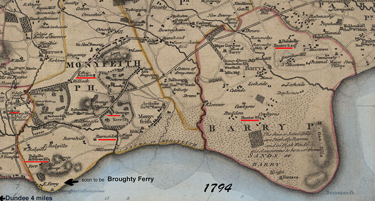 a 1794 map of where Broughty Ferry will be built