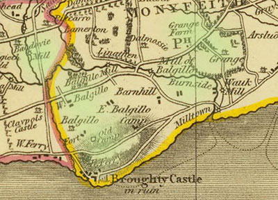 map of Broughty Ferry, showing location of Balgillo, Baldovie, Burnside Monifieth and the Grange.