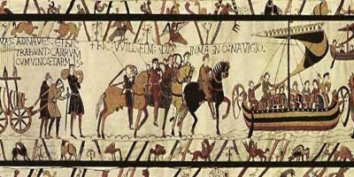 tapestry showing Norman advance