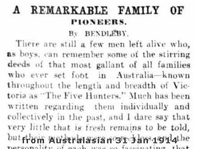 1914 newspaper story hunter family