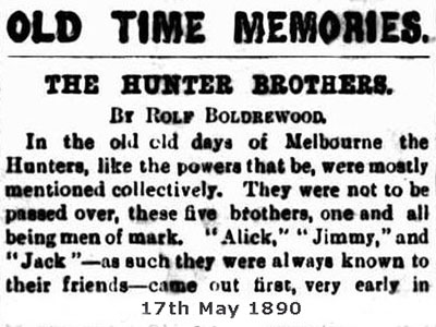 1890 newspaper story of the hunter brothers